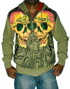 ED HARDY Christian Audigier Skull Tattoo Hoodie Mens Hooded Sweatshirt