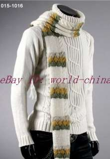 Men Slim Turtle neck Knit Sweater ivory white US XS S M