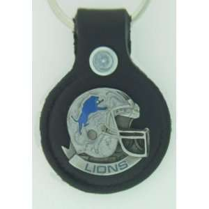 Detroit Lions Small Leather & Pewter Helmet Key Fob