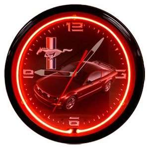 Ford Mustang Red/Black Neon 20 Wall Clock Made In USA New