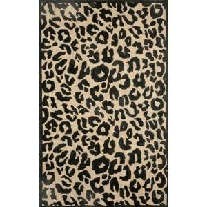 Indoor/Outdoor Hand Tufted Area Rug Animal Skin 8 Square Black Carpet