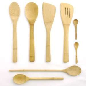 7 Piece Bamboo Cooking Utensil Set 4 Spoons, 2 Turners and