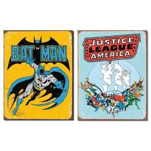 Nostalgic Superhero Tin Metal Sign Bundle   2 retro signs