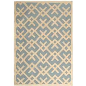 Safavieh Dhurrie Collection DHU552B Handmade Light Blue and Ivory Wool