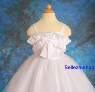 White Flower Girls Pageant Wedding Dress SZ 2T 3T W66