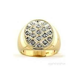 Mens Bling Bling 14K Yellow Gold Diamond Ring Jewelry