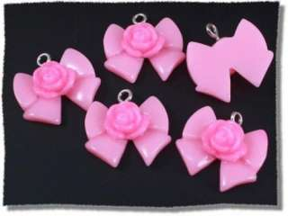 5pcs Lucite Rose on Light Pink Ribbon Bow Charm 20x18mm