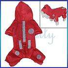 Pet Dog Raincoat Rain Slicker Hoodie Coat Clothes Red M