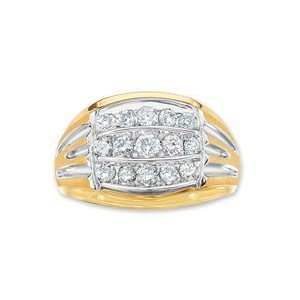 Gordons Jewelers Diamond Three Row Ring in 10K Two Tone Gold Mens 1