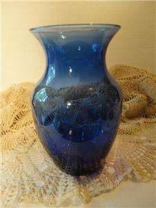 INDIANA GLASS CO. COBALT BLUE LARGE VINTAGE VASE