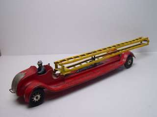 Kingsbury Aerial Ladder Fire Truck Steel Toy Wind up