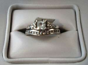 Stamped 14KT White Gold Diamond Wedding Set Ring