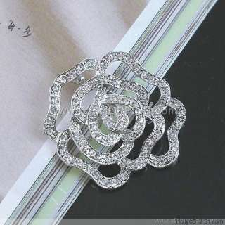 Brand New Lots 60Pcs Clear Flower Crystal Rhinestone Brooches
