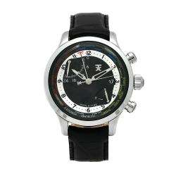 Mens World Time Black Dial Black Leather Strap Watch