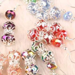 15 Pairs Mix Crystal Glass Faceted Bead Dangle Earrings