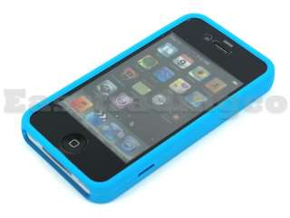 Full Rubber Hard Silicone Case iPhone 4 4G Baby Blue
