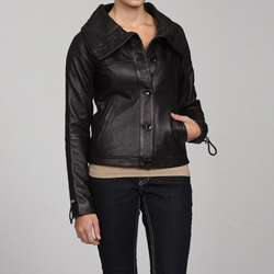 MICHAEL Michael Kors Womens Black Leather Jacket