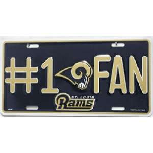 St. Louis Rams NFL #1 Fan License Plate Tag Sports
