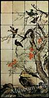 16x32 12th Century Birds Cherry Blossom Fine Art Tiles