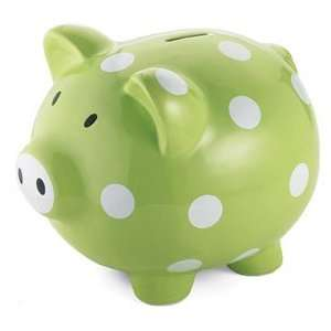 Giant Green Polka Dot Piggy Bank   (Child) Baby