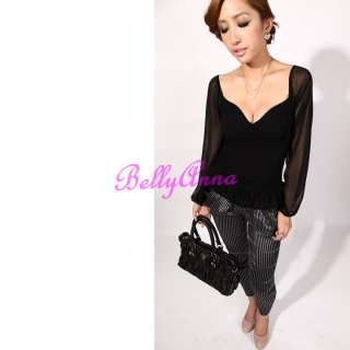 Sexy Women V Neck Unique Back Chiffon Party Clubwear Women T shirt Top