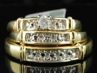 Gold Diamond Engagement Ring Wedding Band Trio Bridal Set