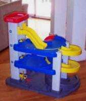 RARE Fisher Price CAR GARAGE RACE TRACK 2 ORIGINAL CARS