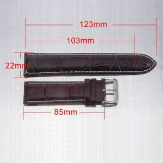 22 24mm Black Brown Genuine Leather Mens Wrist Watch Strap Band