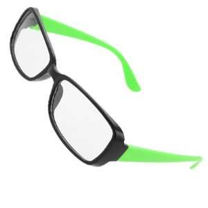 Como Black Plastic Frame Clear Lens Green Arms Plain Glasses for Women