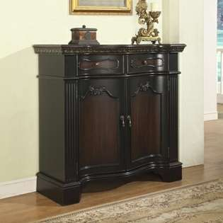 Powell Black & Cherry Wood Finish Fluted Pilaster 2 Door Cabinet at