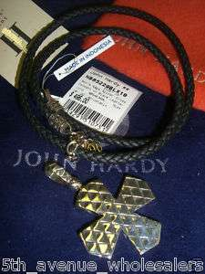 JOHN HARDY MENS NAGA SILVER CROSS PENDENT& LEATHER CORD RETAIL $495