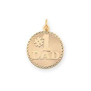 14K Number 1 Dad Charm   Measures 25.4x18mm   JewelryWeb