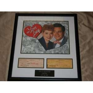 Lucille Ball Desi Arnaz Auto Signed Checks Framed Matted I