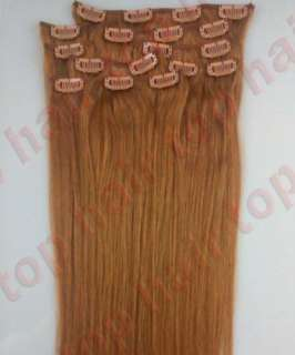CLIP IN REMY REAL HUMAN HAIR EXTENSIONS FULL HEAD 7PCS 16 18 20 22