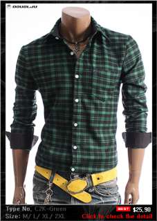 DOUBLJU Mens Casual Best Check Shirts Collection