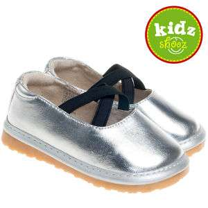 Girls Infant Toddler Leather Squeaky Shoes   Silver