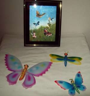 PC SET PICTURE & 3 CERAMIC BUTTERFLY WALL HANGINGS