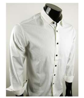 New Mens Casual Implicit strip Shirts Colour White Black 4 Size