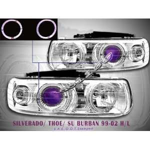 Chevy Suburban Headlights Chrome Blue Halo Headlights 2005