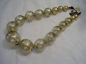Murano glass necklace. Blown glass beads, grey+gold leaf.TOP QUALITY