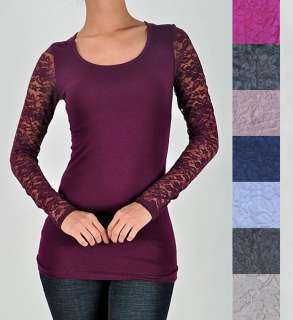 Sexy Long Sleeve Lace Back SLIM FIT T Shirt Top Scoop Neck Tee Blouse