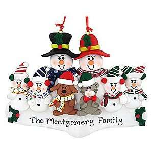 Personalized Snowman Family Of 6 With Dog And Cat Ornament