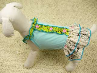 PINK BLUE 2 COLORS Pastoral style DOG Clothes Cotton Cascading DRESS