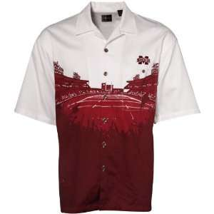 Maroon White Stadium Resort Full Button Camp Shirt