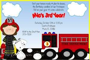 Fire Girl/Fire Truck Birthday Invitations~Dalmation