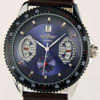 New Automatic Mechanical Leather Self Winding Mens Trendy Wrist Watch