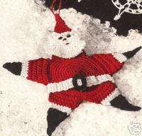 Crochet Santa Star Xmas Tree Ornament Vintage Pattern