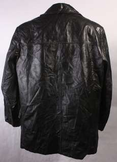 MENS VINTAGE LEATHER SHOP SOFT FAUX FUR HIPSTER COAT/JACKET sz 42