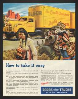 1947 Dodge Job Rated Trucks Traveling Indians Print Ad