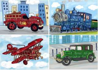 SET/4 vintage transportation trucks plane art new 5x7
